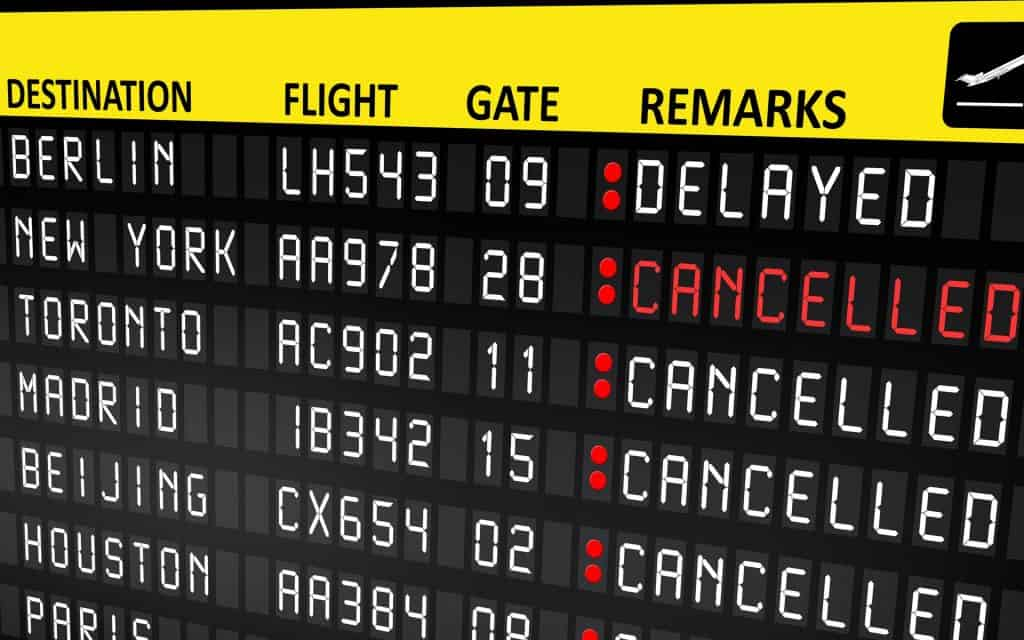 Travel insurance covers cancelled or delayed flights