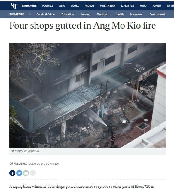 Ang Mo Kio shophouse fire disrupted business